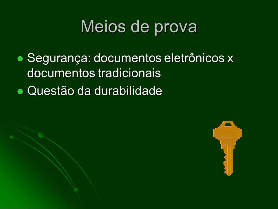 Meios de prova Segurança: documentos eletrônicos x documentos tradicionais. Questão da durabilidade.