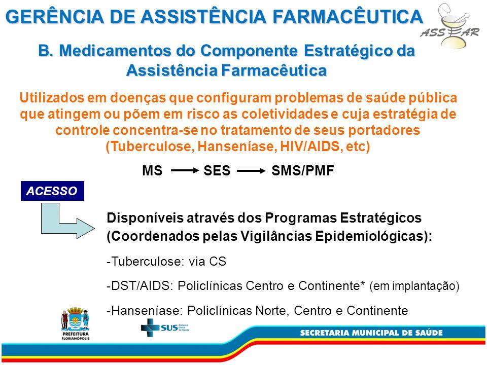 B. Medicamentos do Componente Estratégico da Assistência Farmacêutica