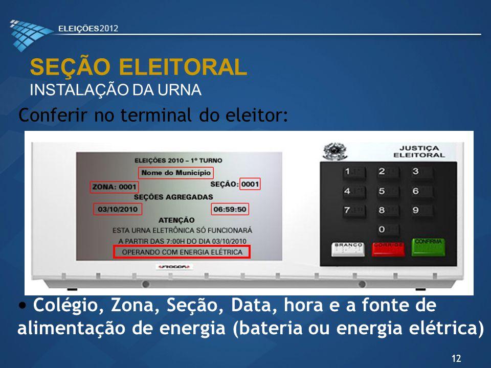 SEÇÃO ELEITORAL Conferir no terminal do eleitor: