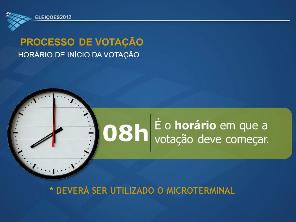 08h É o horário em que a votação deve começar. PROCESSO DE VOTAÇÃO