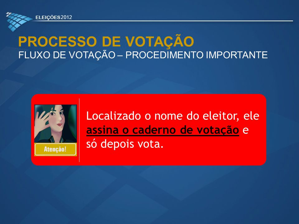 PROCESSO DE VOTAÇÃO FLUXO DE VOTAÇÃO – PROCEDIMENTO IMPORTANTE.