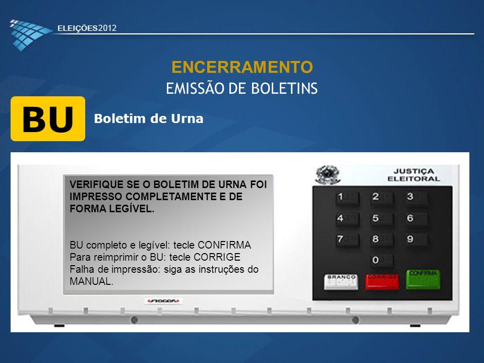 BU ENCERRAMENTO EMISSÃO DE BOLETINS Boletim de Urna