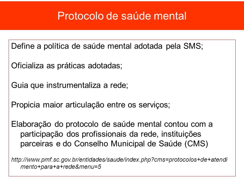 Protocolo de saúde mental