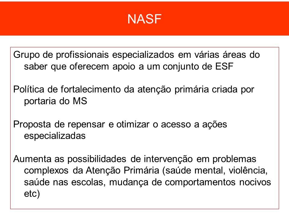 NASF Grupo de profissionais especializados em várias áreas do saber que oferecem apoio a um conjunto de ESF.