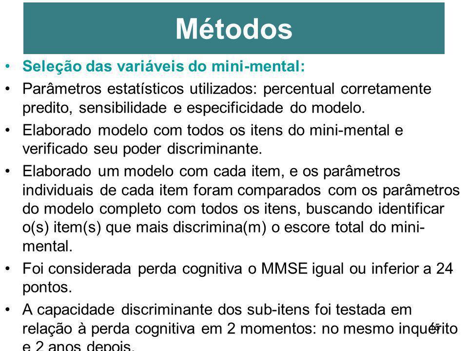 Métodos Seleção das variáveis do mini-mental: