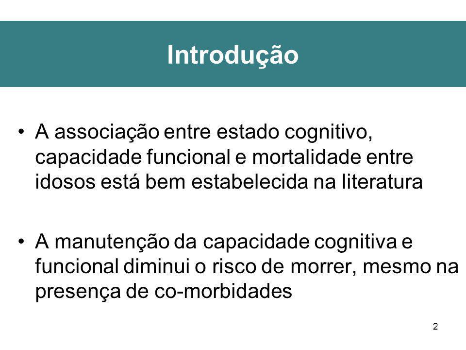 Introdução A associação entre estado cognitivo, capacidade funcional e mortalidade entre idosos está bem estabelecida na literatura.