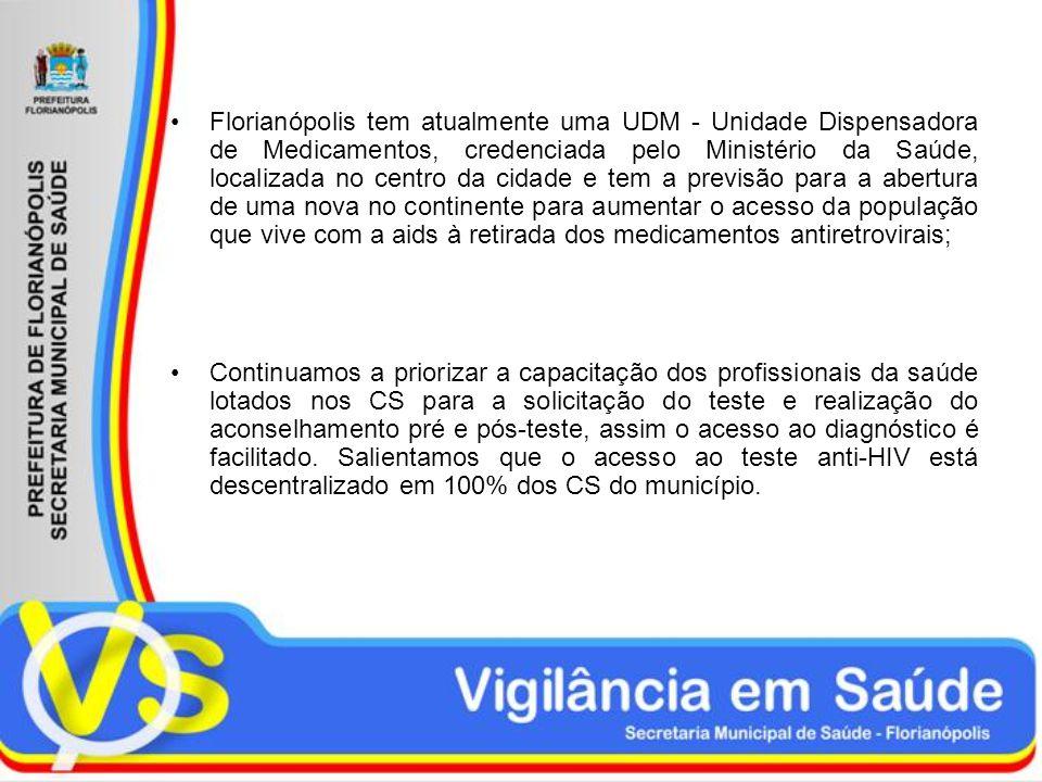 Florianópolis tem atualmente uma UDM - Unidade Dispensadora de Medicamentos, credenciada pelo Ministério da Saúde, localizada no centro da cidade e tem a previsão para a abertura de uma nova no continente para aumentar o acesso da população que vive com a aids à retirada dos medicamentos antiretrovirais;