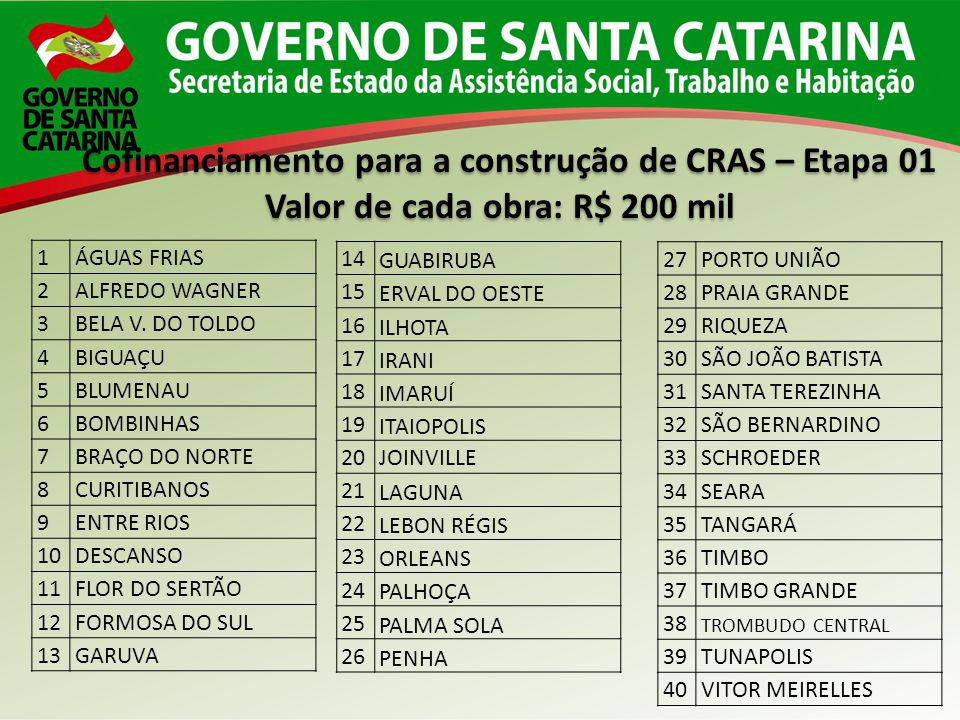 Cofinanciamento para a construção de CRAS – Etapa 01