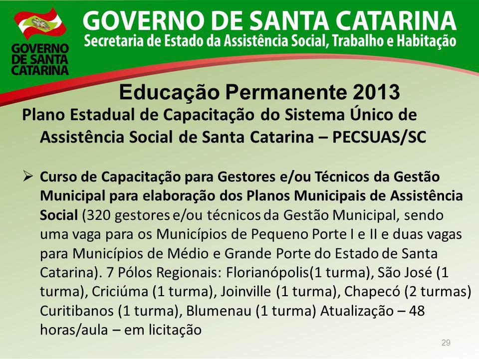 Educação Permanente 2013 Plano Estadual de Capacitação do Sistema Único de Assistência Social de Santa Catarina – PECSUAS/SC.