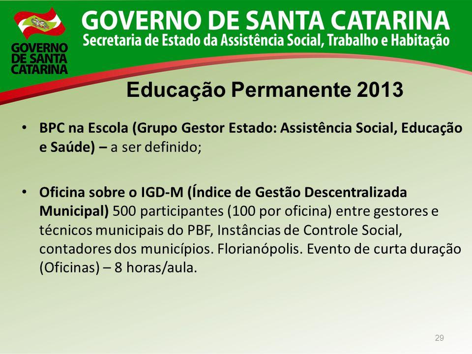 BPC na Escola (Grupo Gestor Estado: Assistência Social, Educação e Saúde) – a ser definido;