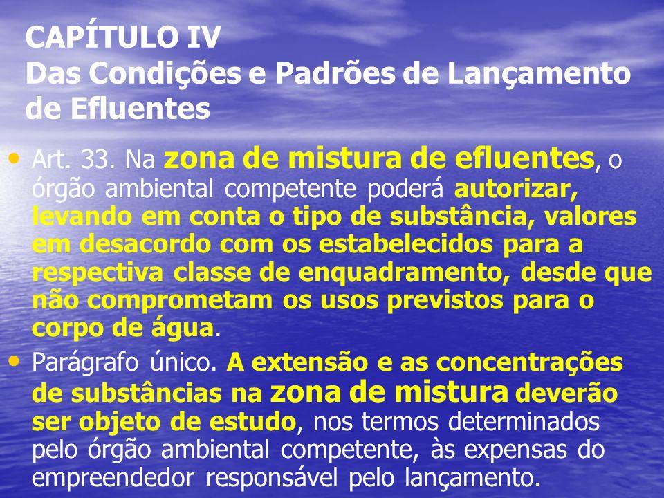 CAPÍTULO IV Das Condições e Padrões de Lançamento de Efluentes