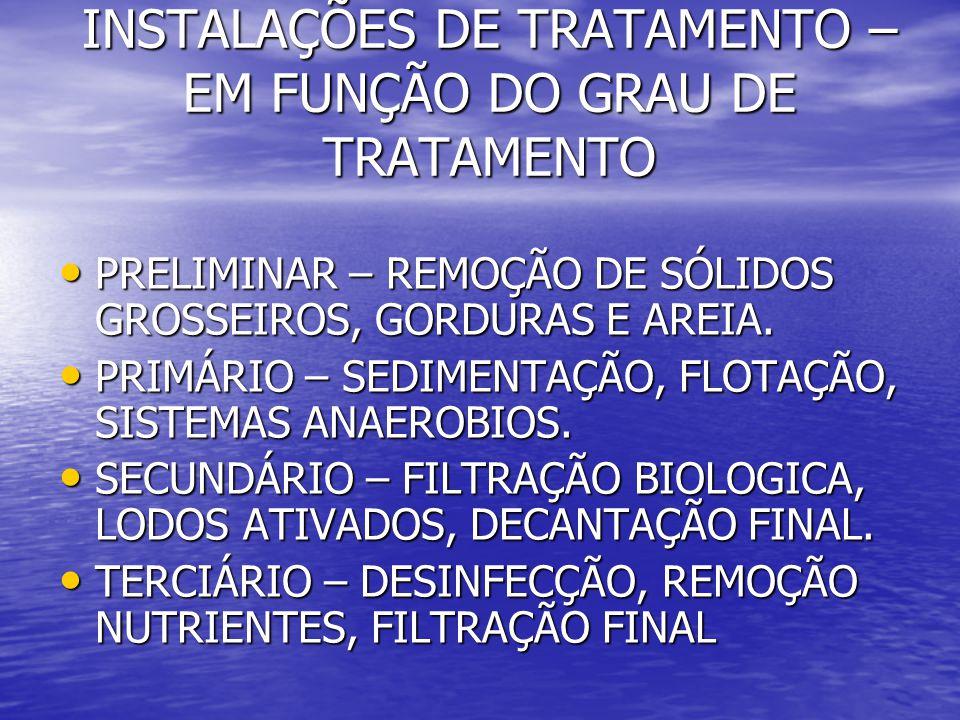 INSTALAÇÕES DE TRATAMENTO – EM FUNÇÃO DO GRAU DE TRATAMENTO