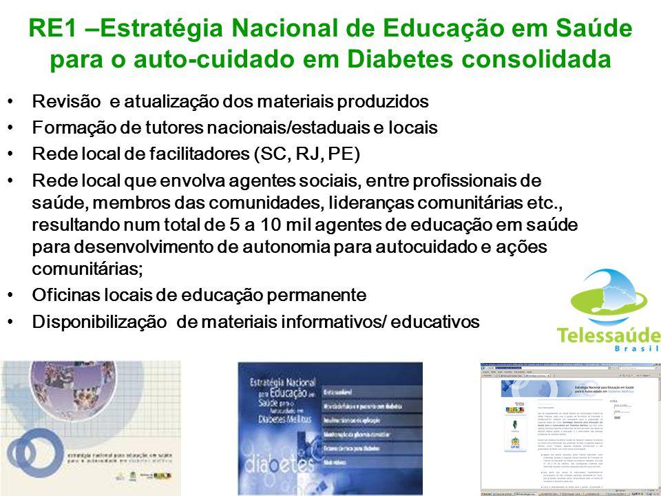 RE1 –Estratégia Nacional de Educação em Saúde para o auto-cuidado em Diabetes consolidada