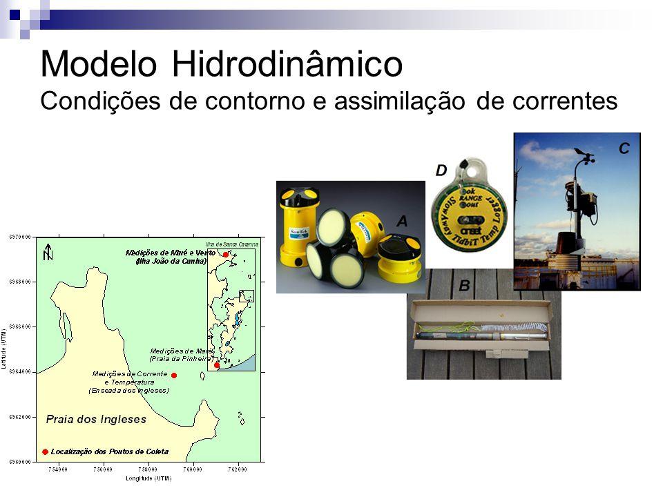Modelo Hidrodinâmico Condições de contorno e assimilação de correntes