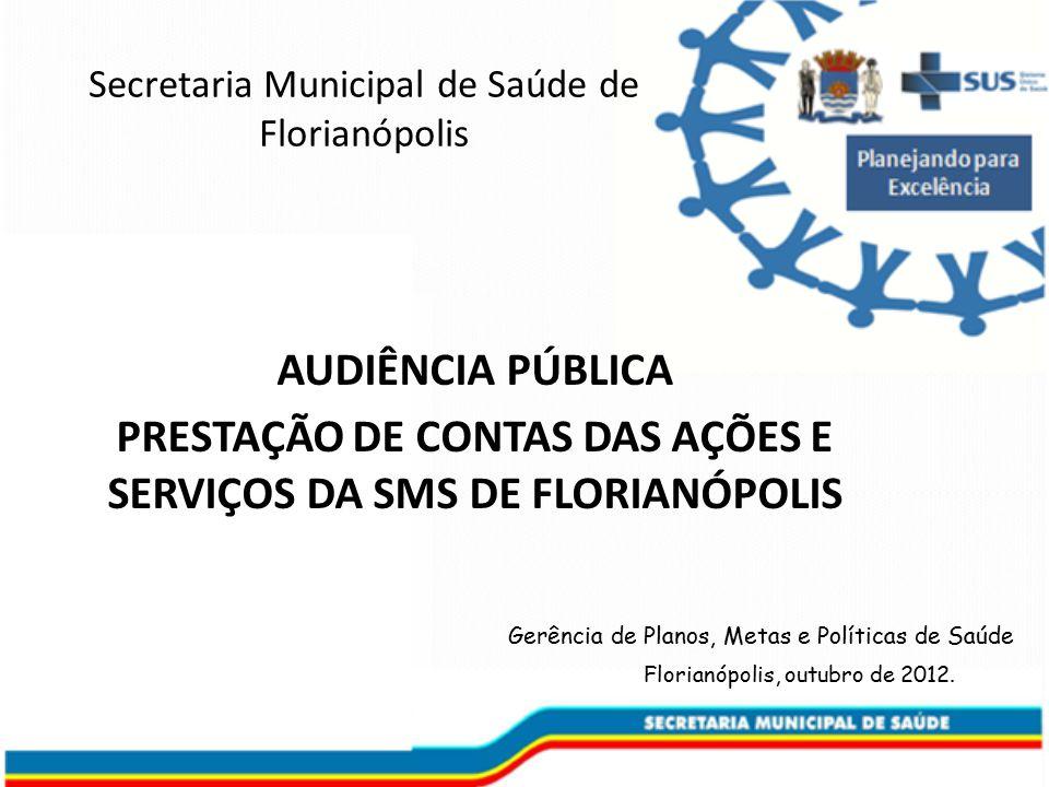 PRESTAÇÃO DE CONTAS DAS AÇÕES E SERVIÇOS DA SMS DE FLORIANÓPOLIS