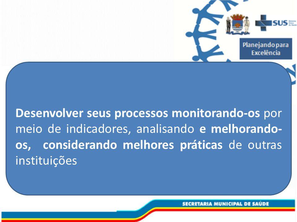 Desenvolver seus processos monitorando-os por meio de indicadores, analisando e melhorando-os, considerando melhores práticas de outras instituições