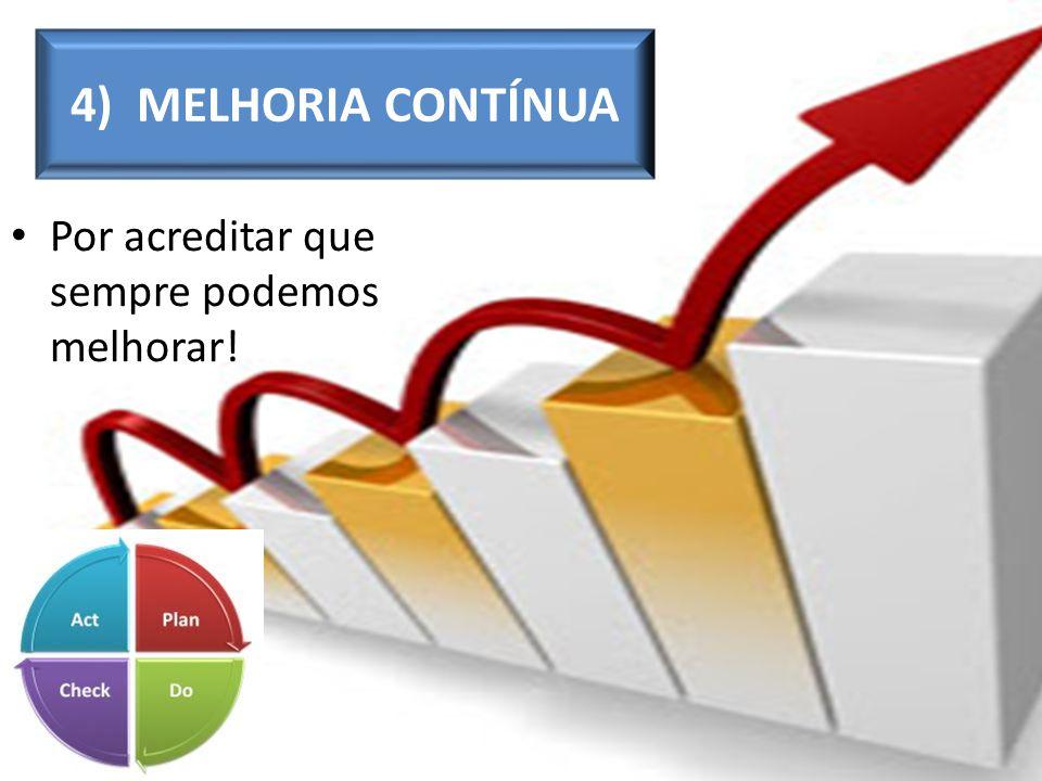4) MELHORIA CONTÍNUA Por acreditar que sempre podemos melhorar!
