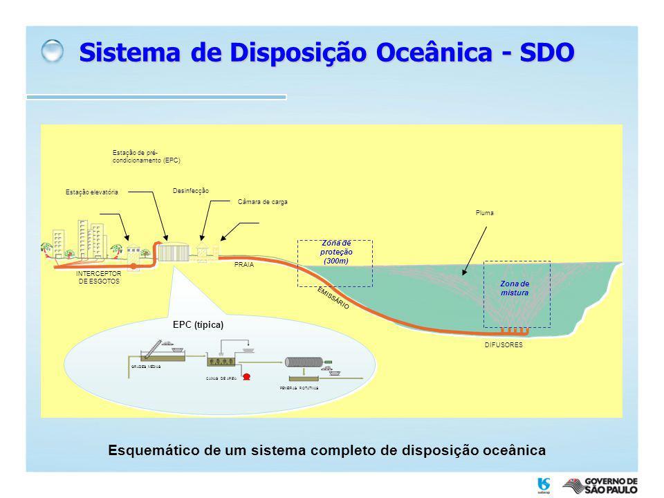 Esquemático de um sistema completo de disposição oceânica