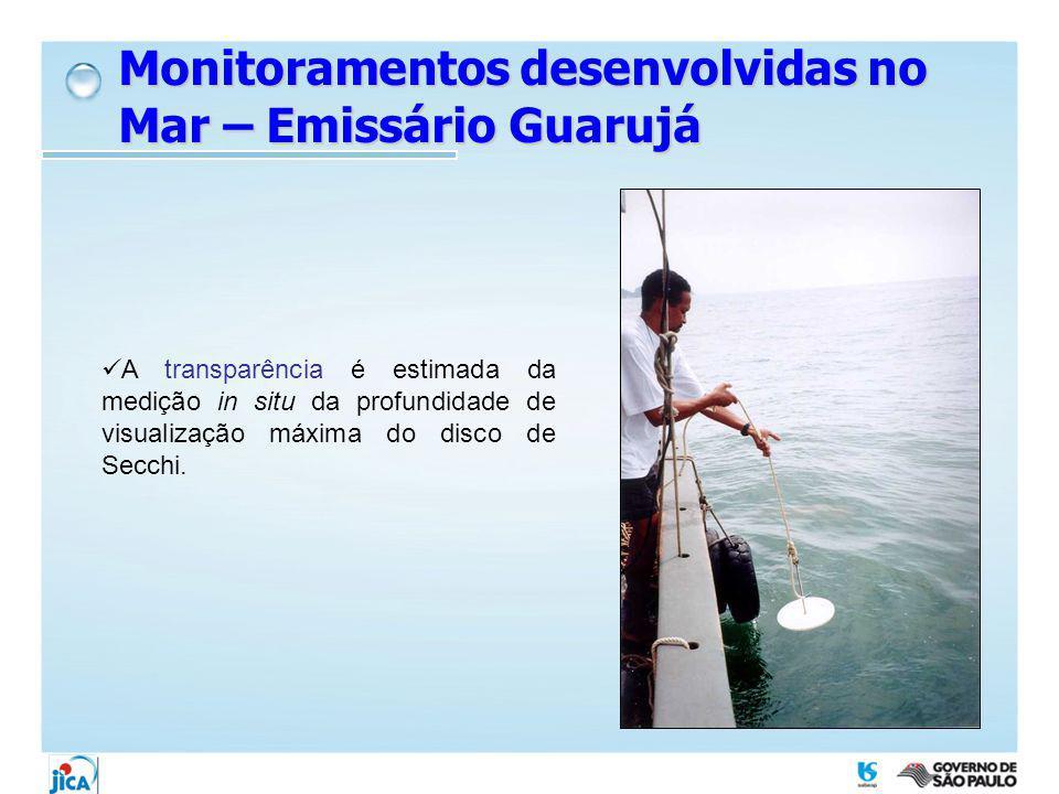 Monitoramentos desenvolvidas no Mar – Emissário Guarujá