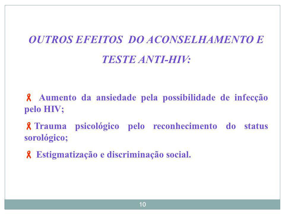 OUTROS EFEITOS DO ACONSELHAMENTO E