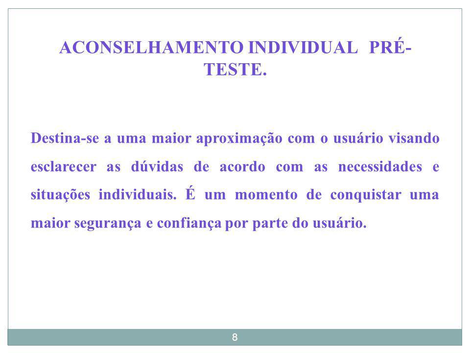 ACONSELHAMENTO INDIVIDUAL PRÉ-TESTE.