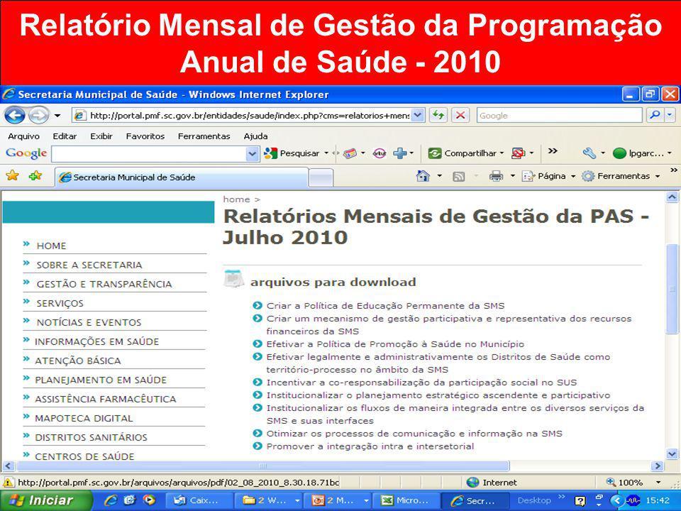 Relatório Mensal de Gestão da Programação Anual de Saúde - 2010