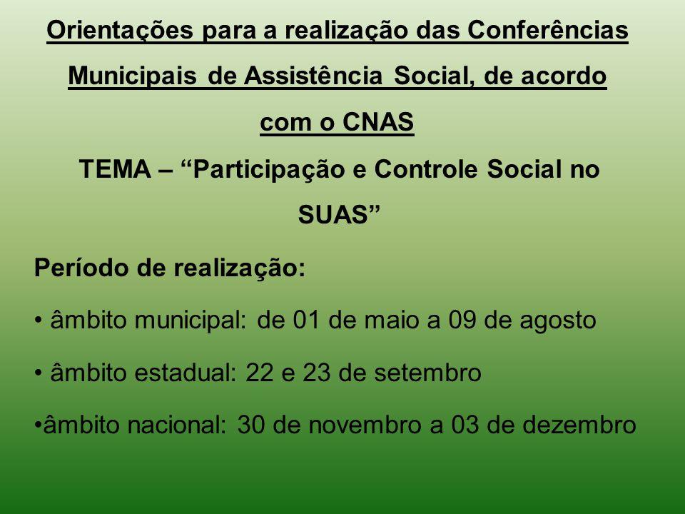 TEMA – Participação e Controle Social no SUAS