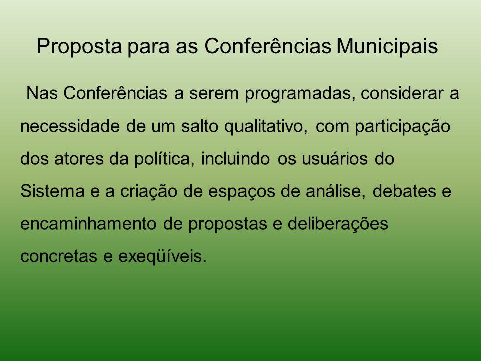 Proposta para as Conferências Municipais