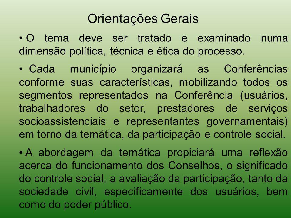 Orientações Gerais O tema deve ser tratado e examinado numa dimensão política, técnica e ética do processo.