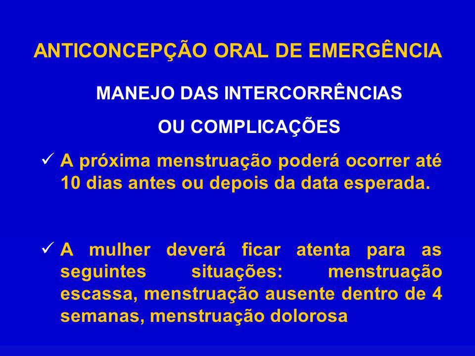 ANTICONCEPÇÃO ORAL DE EMERGÊNCIA MANEJO DAS INTERCORRÊNCIAS