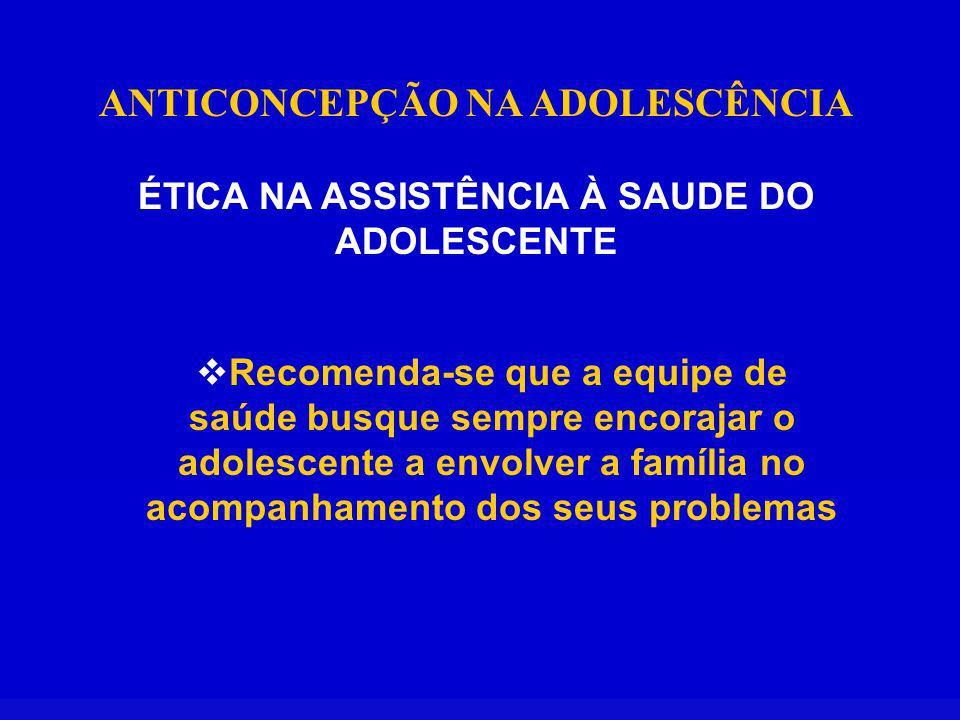 ANTICONCEPÇÃO NA ADOLESCÊNCIA ÉTICA NA ASSISTÊNCIA À SAUDE DO