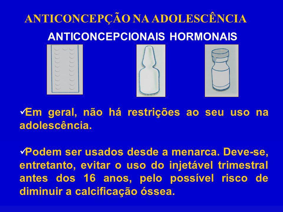 ANTICONCEPÇÃO NA ADOLESCÊNCIA ANTICONCEPCIONAIS HORMONAIS