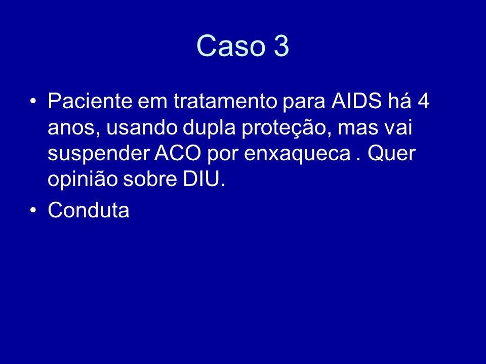 Caso 3 Paciente em tratamento para AIDS há 4 anos, usando dupla proteção, mas vai suspender ACO por enxaqueca . Quer opinião sobre DIU.