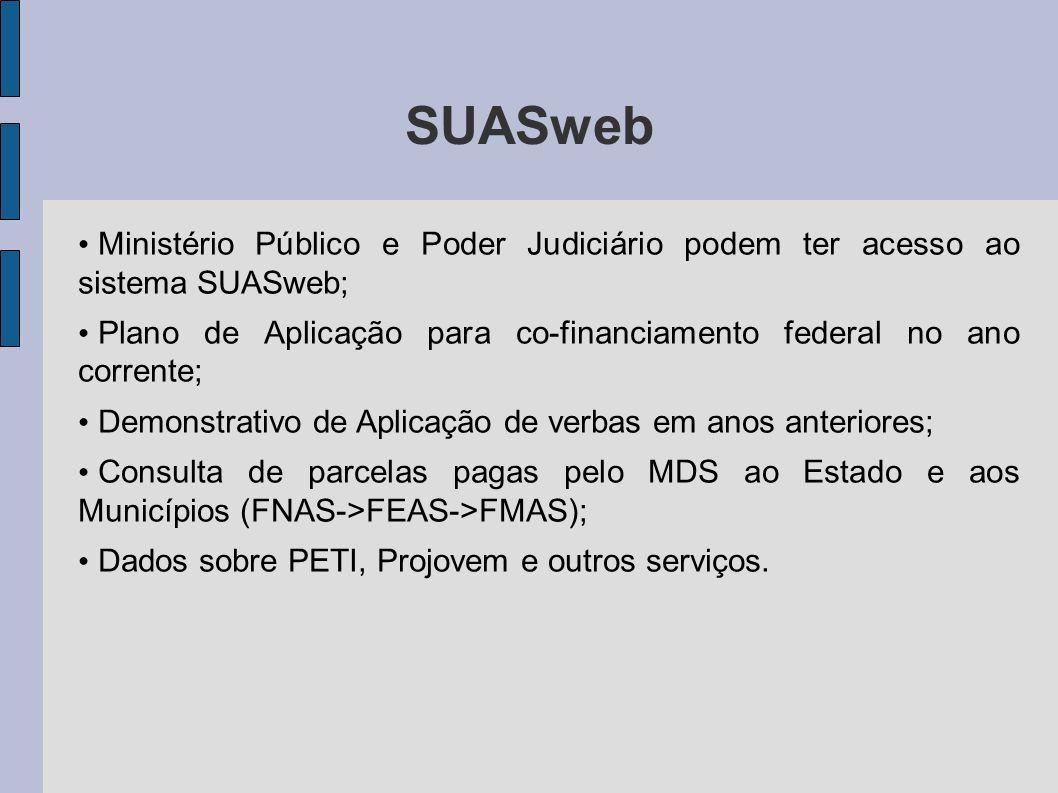 SUASweb Ministério Público e Poder Judiciário podem ter acesso ao sistema SUASweb;