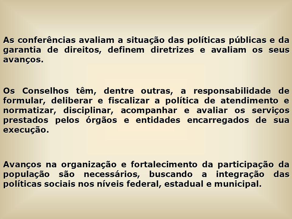 As conferências avaliam a situação das políticas públicas e da garantia de direitos, definem diretrizes e avaliam os seus avanços.