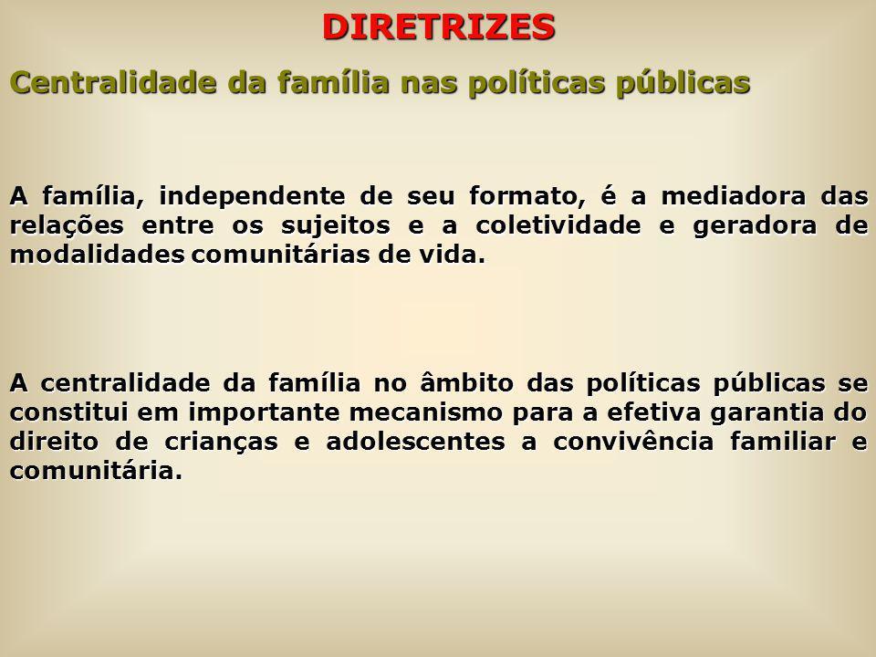 DIRETRIZES Centralidade da família nas políticas públicas