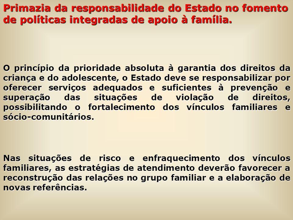Primazia da responsabilidade do Estado no fomento de políticas integradas de apoio à família.
