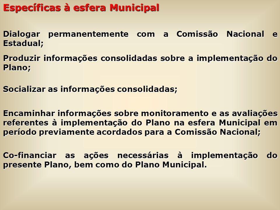 Específicas à esfera Municipal