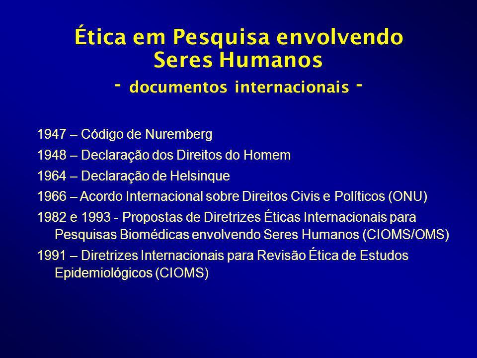 Ética em Pesquisa envolvendo Seres Humanos - documentos internacionais -