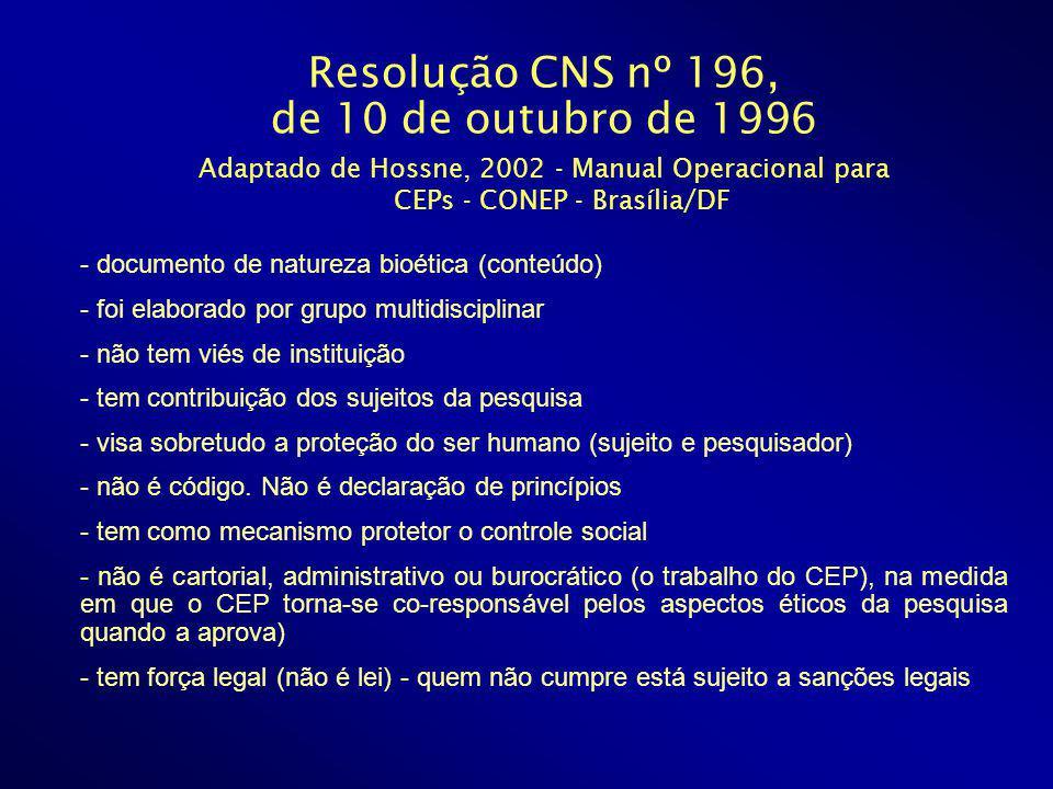 Resolução CNS nº 196, de 10 de outubro de 1996