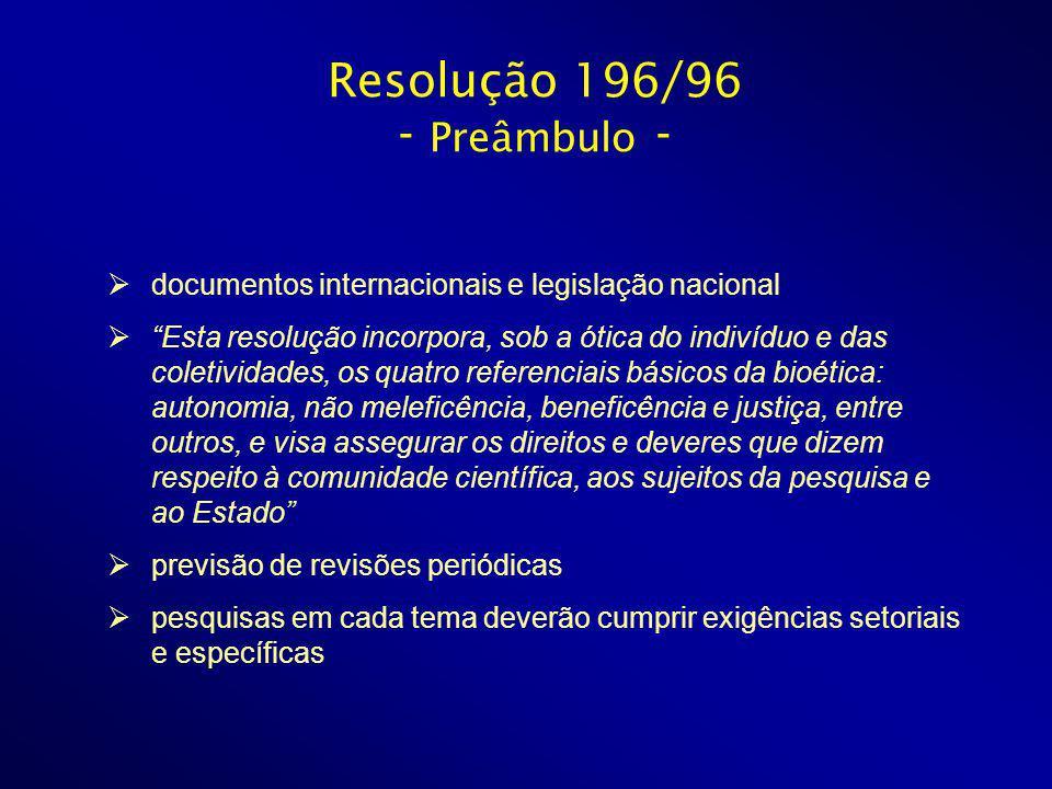 Resolução 196/96 - Preâmbulo -
