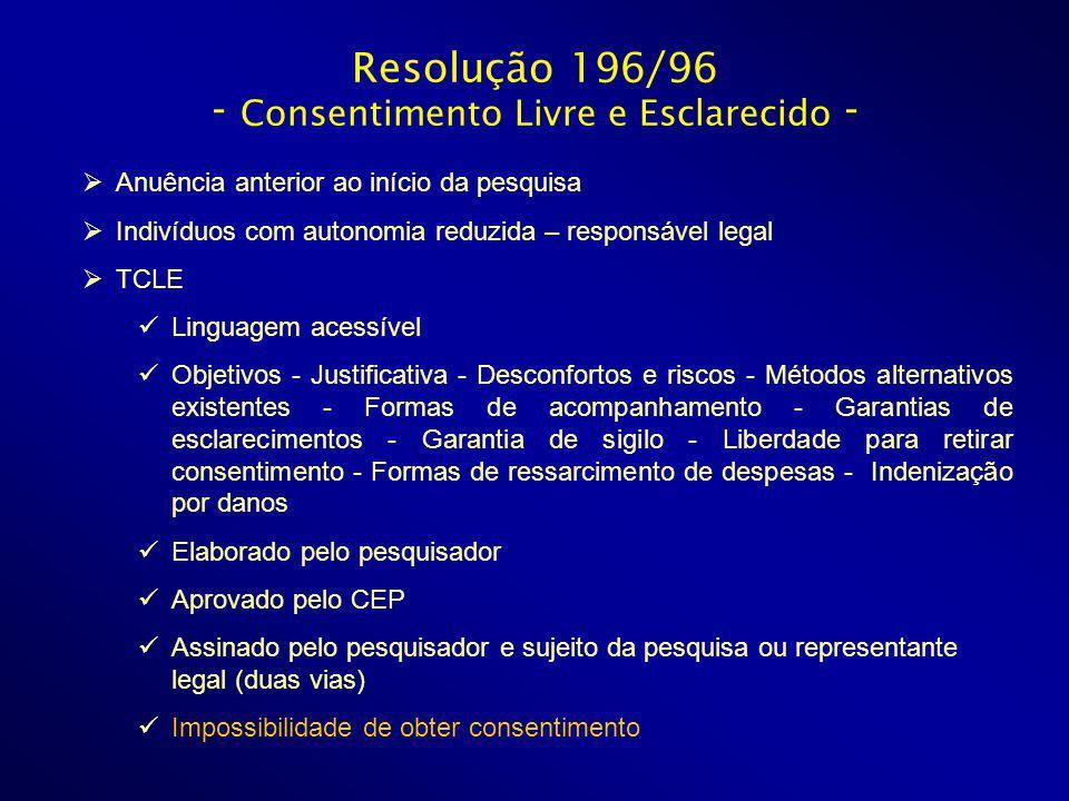 Resolução 196/96 - Consentimento Livre e Esclarecido -