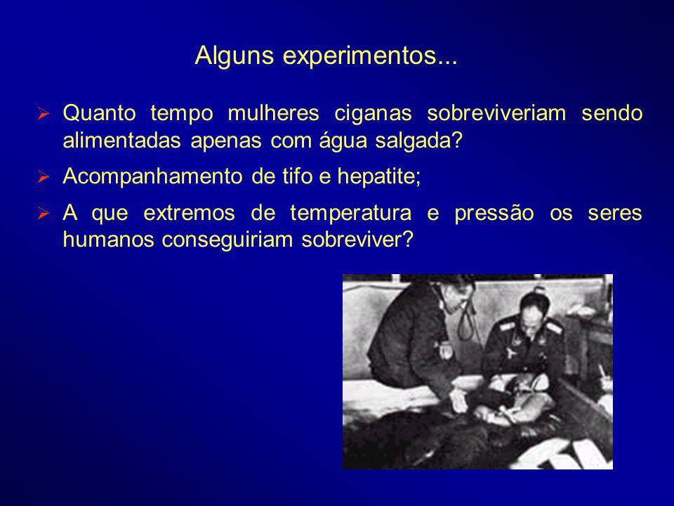 Alguns experimentos... Quanto tempo mulheres ciganas sobreviveriam sendo alimentadas apenas com água salgada