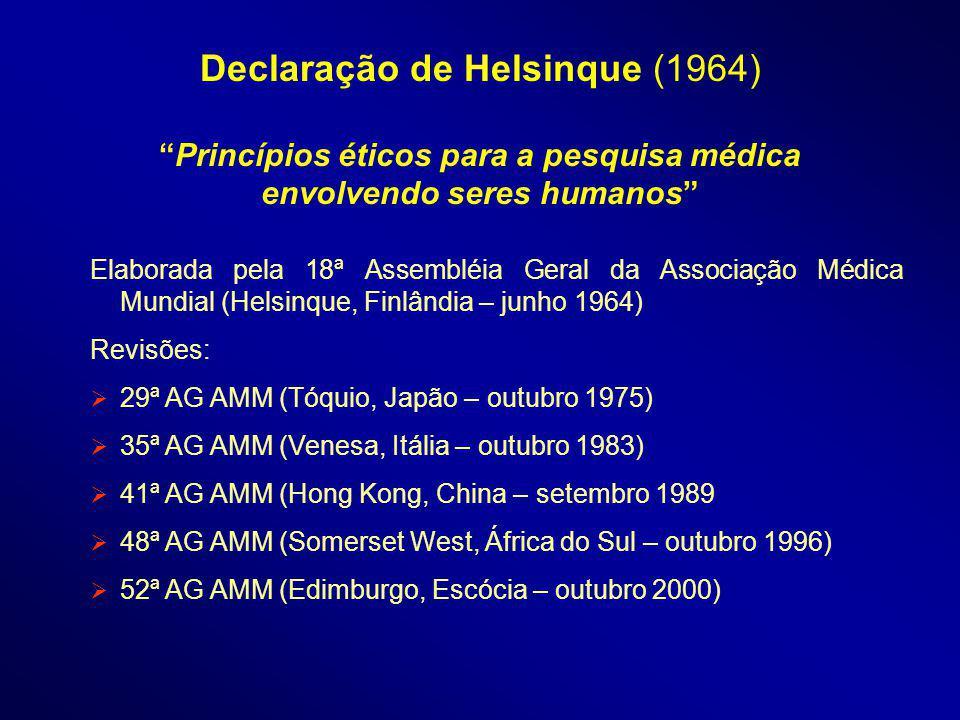 Declaração de Helsinque (1964) Princípios éticos para a pesquisa médica envolvendo seres humanos