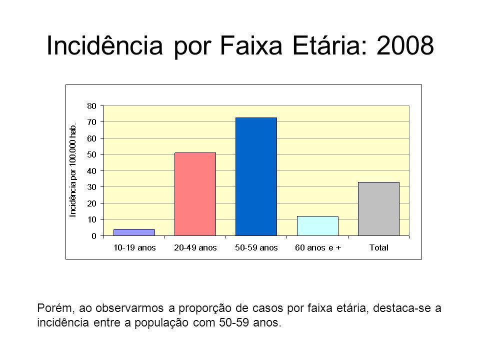 Incidência por Faixa Etária: 2008