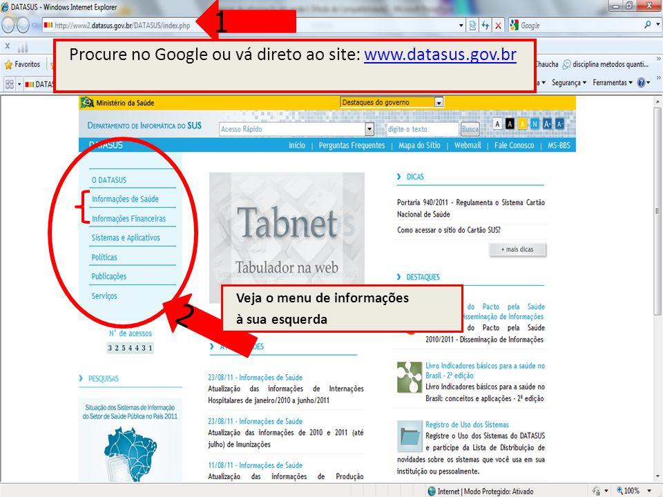 1 2 Procure no Google ou vá direto ao site: www.datasus.gov.br