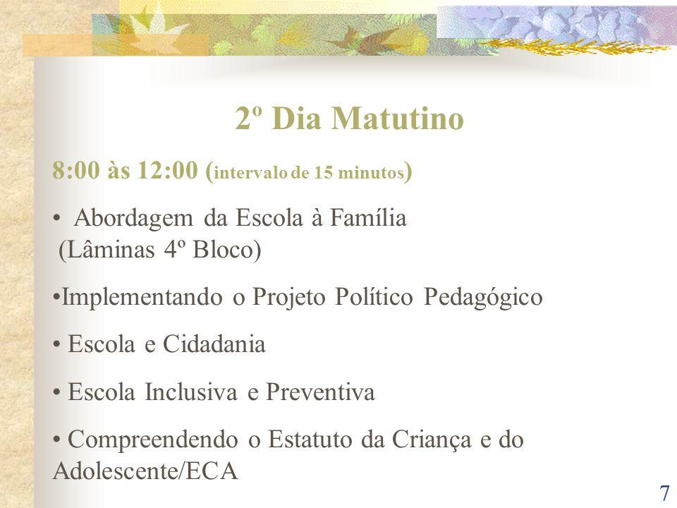 2º Dia Matutino 8:00 às 12:00 (intervalo de 15 minutos)