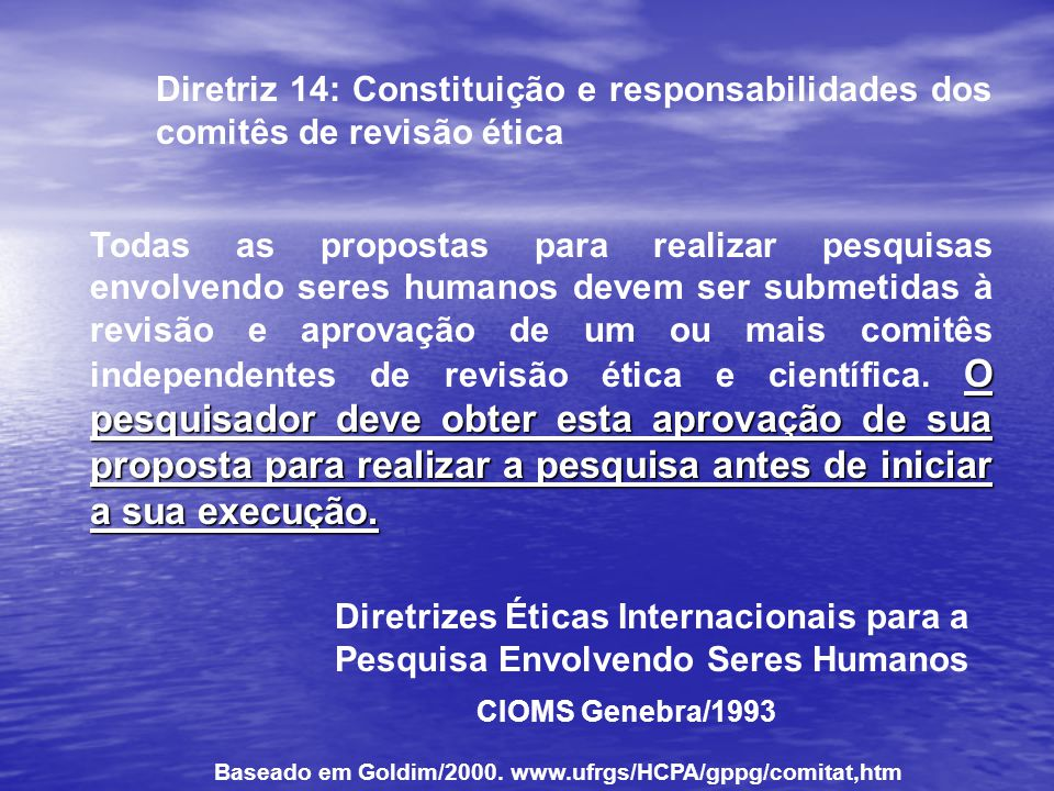 Diretriz 14: Constituição e responsabilidades dos comitês de revisão ética