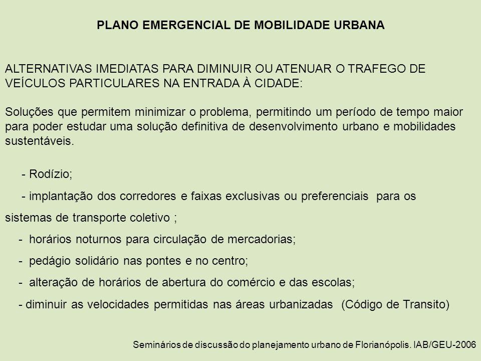 PLANO EMERGENCIAL DE MOBILIDADE URBANA