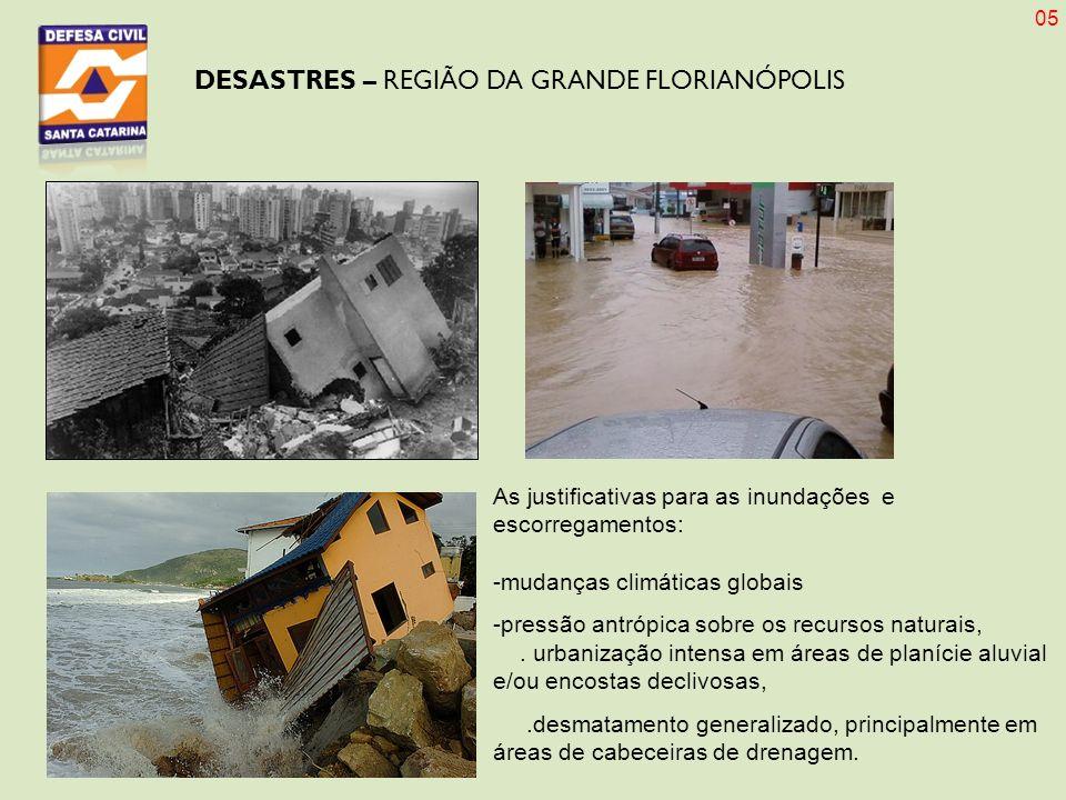 DESASTRES – REGIÃO DA GRANDE FLORIANÓPOLIS